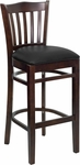 Walnut Finished Vertical Slat Back Wooden Restaurant Barstool with Black Vinyl Seat [BFDH-8242WBK-BAR-TDR]