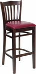 Walnut Finished Vertical Slat Back Wooden Restaurant Barstool with Burgundy Vinyl Seat [BFDH-8242WBY-BAR-TDR]