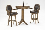 Warrington 3 Piece Pub Set with Round Wood Table and 2 Stools - Rich Cherry [6125PTBS-FS-HILL]