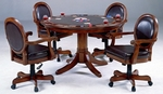 Warrington 5 Piece Game Set with Multi Function Wood Table and 4 Oval Back Arm Chairs - Medium Brown Cherry [6125GTBC-FS-HILL]