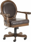 Warrington Height Adjustable Game Chair with Casters and Brown Leather Seat - Rich Cherry [6125-801B-FS-HILL]
