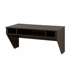Designer 42.5''W Floating Desk with 3 Open Storage Compartments - Washed Ebony [HEHW-0500-1-FS-PP]