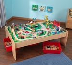 Kids Wooden Waterfall Mountain Train Set and Table with Three Storage Tubs Includes 120 Pieces [17850-FS-KK]