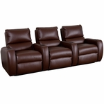 Welbourne Three Seater Home Theater - Straight Arm in Top Grain Leather [530-WELBOURNE-S3-FS-LTS]