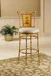 West Palm Metal 26'' Counter Height Stool with Beige Fabric Swivel Seat - Burnished Brown [4330-824-FS-HILL]