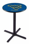 West Virginia University 36''H Black Wrinkle Finish Counter Height Pub Table with X-Base [L211B36WESTVA-FS-HOB]