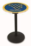 West Virginia University 36''H Black Wrinkle Finish Counter Height Pub Table with Round Base [L214B36WESTVA-FS-HOB]