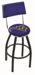 West Virginia University 25'' Black Wrinkle Finish Swivel Counter Height Stool with Cushioned Back [L8B425WESTVA-FS-HOB]
