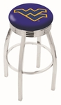 West Virginia University 25'' Chrome Finish Swivel Backless Counter Height Stool with 2.5'' Ribbed Accent Ring [L8C3C25WESTVA-FS-HOB]