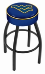 West Virginia University 25'' Black Wrinkle Finish Swivel Backless Counter Height Stool with 4'' Thick Seat [L8B125WESTVA-FS-HOB]