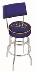 West Virginia University 25'' Chrome Finish Swivel Counter Height Stool with Double Ring Base [L7C425WESTVA-FS-HOB]