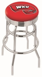 Western Kentucky University 25'' Chrome Finish Double Ring Swivel Backless Counter Height Stool with Ribbed Accent Ring [L7C3C25WESTKY-FS-HOB]