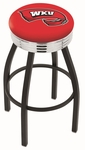 Western Kentucky University 25'' Black Wrinkle Finish Swivel Backless Counter Height Stool with Ribbed Accent Ring [L8B3C25WESTKY-FS-HOB]