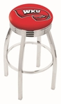 Western Kentucky University 25'' Chrome Finish Swivel Backless Counter Height Stool with 2.5'' Ribbed Accent Ring [L8C3C25WESTKY-FS-HOB]
