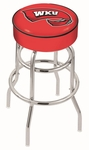 Western Kentucky University 25'' Chrome Finish Double Ring Swivel Backless Counter Height Stool with 4'' Thick Seat [L7C125WESTKY-FS-HOB]