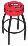 Western Kentucky University 25'' Black Wrinkle Finish Swivel Backless Counter Height Stool with 4'' Thick Seat [L8B125WESTKY-FS-HOB]