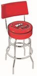 Western Kentucky University 25'' Chrome Finish Swivel Counter Height Stool with Double Ring Base [L7C425WESTKY-FS-HOB]