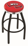 Western Kentucky University 25'' Black Wrinkle Finish Swivel Backless Counter Height Stool with Chrome Accent Ring [L8B2C25WESTKY-FS-HOB]