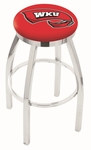 Western Kentucky University 25'' Chrome Finish Swivel Backless Counter Height Stool with Accent Ring [L8C2C25WESTKY-FS-HOB]
