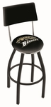 Western Michigan University 25'' Black Wrinkle Finish Swivel Counter Height Stool with Cushioned Back [L8B425WESTMI-FS-HOB]