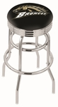 Western Michigan University 25'' Chrome Finish Double Ring Swivel Backless Counter Height Stool with Ribbed Accent Ring [L7C3C25WESTMI-FS-HOB]