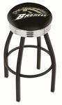 Western Michigan University 25'' Black Wrinkle Finish Swivel Backless Counter Height Stool with Ribbed Accent Ring [L8B3C25WESTMI-FS-HOB]
