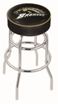 Western Michigan University 25'' Chrome Finish Double Ring Swivel Backless Counter Height Stool with 4'' Thick Seat [L7C125WESTMI-FS-HOB]