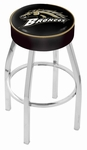 Western Michigan University 25'' Chrome Finish Swivel Backless Counter Height Stool with 4'' Thick Seat [L8C125WESTMI-FS-HOB]