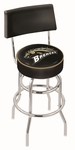 Western Michigan University 25'' Chrome Finish Swivel Counter Height Stool with Double Ring Base [L7C425WESTMI-FS-HOB]