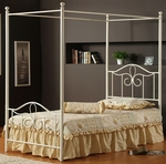 Westfield Metal Canopy Bed Set with Rails - Twin - Off White [1354BTWPR-FS-HILL]
