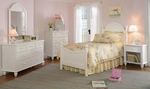 Westfield 4 Piece Wood Bedroom Group Includes Bed, Nightstand, Dresser, and Mirror - Full - Off White [1354F4SET-FS-HILL]