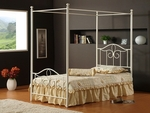Westfield 4 Piece Metal Bedroom Group Includes Canopy Bed, Nightstand, Dresser, and Mirror - Full - Off White [1354FP4SET-FS-HILL]