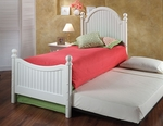 Westfield Metal Post Bed Set with Rails and Trundle - Twin - Off White [1354BTWHTR-FS-HILL]