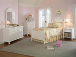 Westfield 5 Piece Wood Bedroom Group Includes Bed, Nightstand, Dresser, Mirror, and Chest - Twin - Off White [1354TW5SET-FS-HILL]