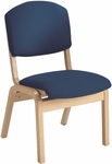 120 Series Stacking Wood Frame Armless Guest Chair with Upholstered Waterfall Seat and Back [WF120-IFK]