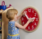 What Time Is It? Decorative Educational Wall Clock in Red [WB9180-FS-WBR]
