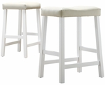 White 24'' H Saddle Stool In Beige Vinyl Cushion-Set Of 2 [5310W-24-3A-2PC-FS-HOM]