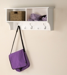 Hanging 36''W Entryway Shelf with 2 Open Storage Compartments and 5 Hooks - White [WEC-3616-FS-PP]