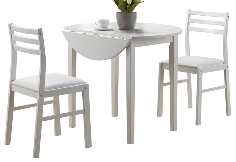 3 Piece Dining Set with 36 Diameter Drop Leaf Round Table
