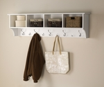 Hanging 60''W Entryway Shelf with 4 Open Storage Compartments and 9 Hooks - White [WEC-6016-FS-PP]
