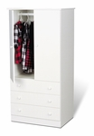 Edenvale 3 Drawer 60''H Wardrobe with Matching Plastic Knobs - White [JWD-3060-K-FS-PP]