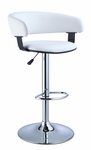 White Faux Leather Barrel & Chrome Adjustable Height Bar Stool [211-915-FS-PO]