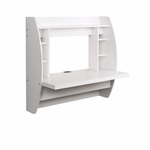 Floating 42.25''W Desk with 7 Open Storage Compartments - White [WEHW-0200-1-FS-PP]