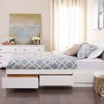 Mate's Full Size Platform Storage Bed with 6 Drawer Storage - White [WBD-5600-3K-FS-PP]