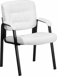 White Leather Executive Side Chair with Black Frame Finish [BT-1404-WH-GG]