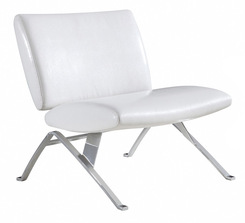 Mwhite Leather Look Chrome Metal Modern Accent Chair: Contemporary Faux Leather Modern Accent Chair With Chrome