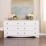 Monterey 6 Drawer 29''H Dresser with Dark Pewter Finished Metal Knobs - White [WDC-6330-K-FS-PP]