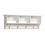 Monterey 48''W Entryway Cubbie Shelf with 3 Open Storage Compartments and 4 Hooks - White [WEC-4816-FS-PP]
