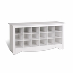 Dual Purpose 48''W Shoe Storage Cubbie Bench with 18 Cubbies - White [WSS-4824-FS-PP]