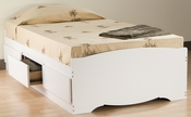 Mate's Twin Size Platform Storage Bed with 3 Drawer Storage - White